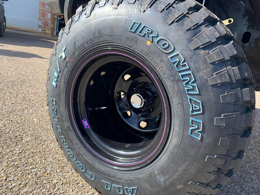 """1994 Jeep Cherokee Super Aggressive 3""""-5"""" on 15x14 -88 offset Bart Super Trucker and 33""""x12.5"""" Ironman All Country Mt on Suspension Lift 6.5"""" - Custom Offsets Gallery"""