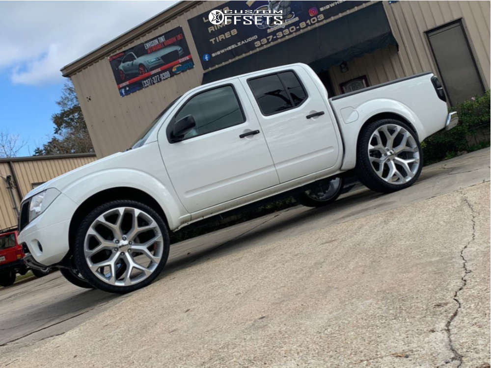 """2018 Nissan Frontier Aggressive > 1"""" outside fender on 26x10 30 offset GM Honeycomb Replicas and 295/30 Fullway Hp108 on Air Suspension - Custom Offsets Gallery"""