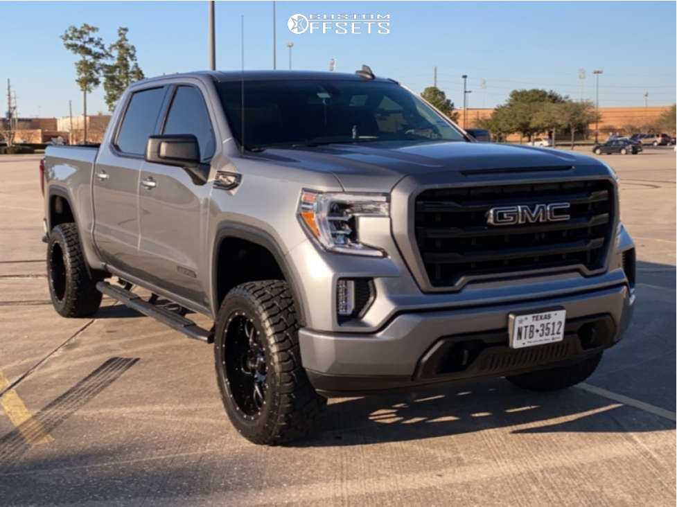 """2020 GMC Sierra 1500 Aggressive > 1"""" outside fender on 20x10 -25 offset Ultra Hunter and 33""""x12.5"""" Sure Trac WIDECLIMBER RT on Suspension Lift 3.5"""" - Custom Offsets Gallery"""