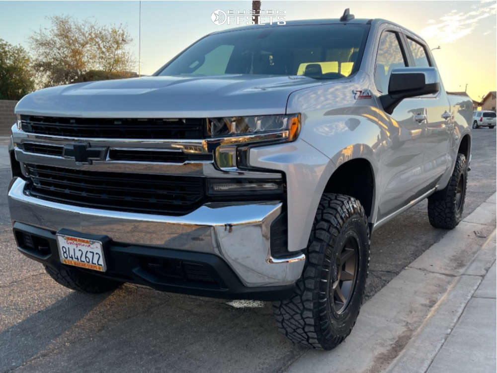 "2020 Chevrolet Silverado 1500 Flush on 18x9 0 offset Icon Alloys Rebound and 285/75 Nitto Ridge Grappler on Suspension Lift 4"" - Custom Offsets Gallery"