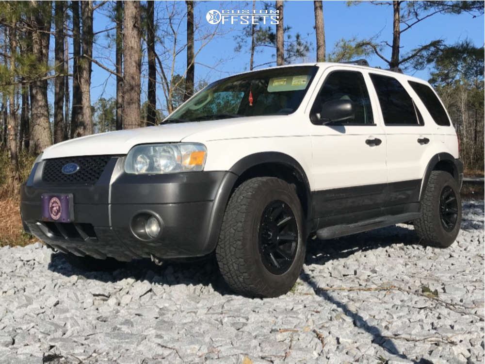 """2005 Ford Escape Aggressive > 1"""" outside fender on 16x8 0 offset Vision Turbine and 235/70 BFGoodrich Rugged Terrain Ta on Stock Suspension - Custom Offsets Gallery"""