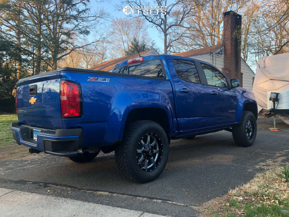 """2020 Chevrolet Colorado Slightly Aggressive on 18x9 18 offset Moto Metal MO970 & 275/65 Toyo Tires Open Country A/T III on Suspension Lift 3.5"""" - Custom Offsets Gallery"""