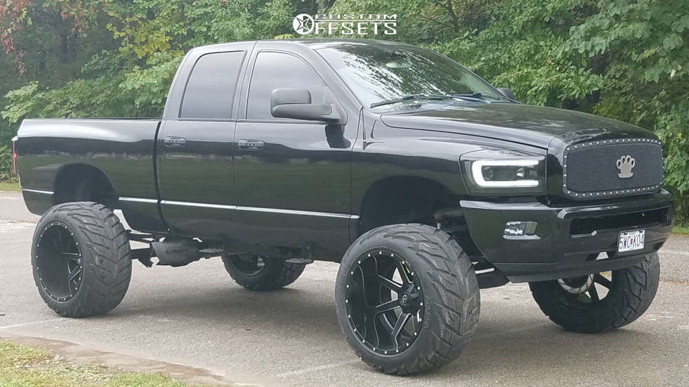 """2008 Dodge Ram 1500 Hella Stance >5"""" on 24x16 -101 offset Fuel Maverick and 38""""x15.5"""" Federal Xplora Mts on Suspension Lift 7.5"""" & Body 3"""" - Custom Offsets Gallery"""
