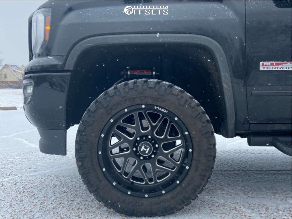 "2017 GMC Sierra 1500 Aggressive > 1"" outside fender on 20x10 -19 offset Hostile Sprocket H108 & 33""x12.5"" Nitto Trail Grappler on Suspension Lift 3.5"" - Custom Offsets Gallery"