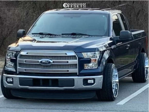 """2016 Ford F-150 Aggressive > 1"""" outside fender on 22x12 -44 offset V-Rock Tactical & 295/30 Toyo Tires Proxes ST Ill on Lowered 2F / 4R - Custom Offsets Gallery"""