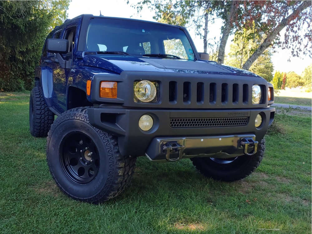 """2010 Hummer H3 Aggressive > 1"""" outside fender on 17x9 -6 offset Pro Comp Series 69 & 35""""x12.5"""" Eldorado Mud Claw Extreme M/t on Air Suspension - Custom Offsets Gallery"""