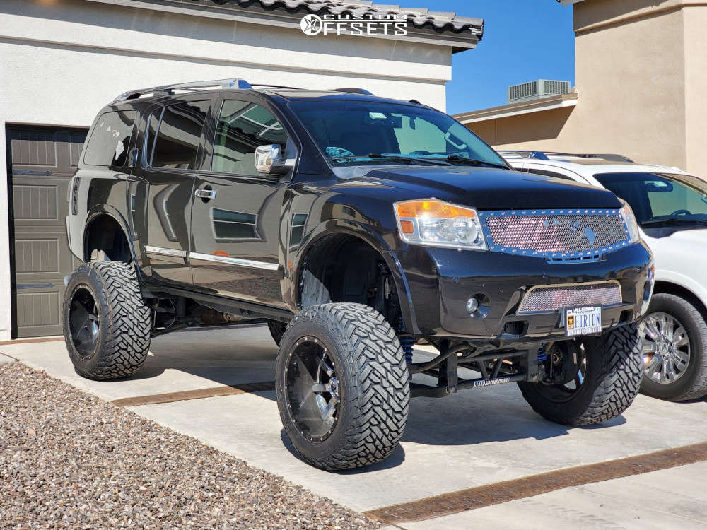 """2013 Nissan Armada Hella Stance >5"""" on 22x14 -70 offset Fuel Maverick D260 & 38""""x15.5"""" Fuel Gripper Mt on Lifted >12"""" - Custom Offsets Gallery"""
