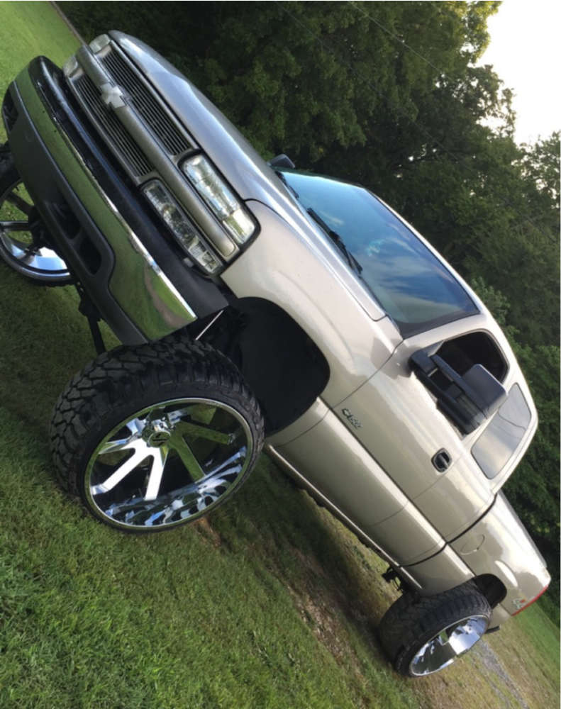 """2002 Chevrolet Silverado 1500 Aggressive > 1"""" outside fender on 26x14 -81 offset ARKON OFF-ROAD Lincoln & 35""""x13.5"""" Fury Offroad Country Hunter Mt on Suspension Lift 6"""" - Custom Offsets Gallery"""