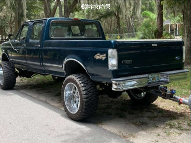 """1997 Ford F-350 Aggressive > 1"""" outside fender on 22x12 -51 offset Vision Rocker and 35""""x12.5"""" Atturo Trail Blade Boss on Suspension Lift 6"""" - Custom Offsets Gallery"""