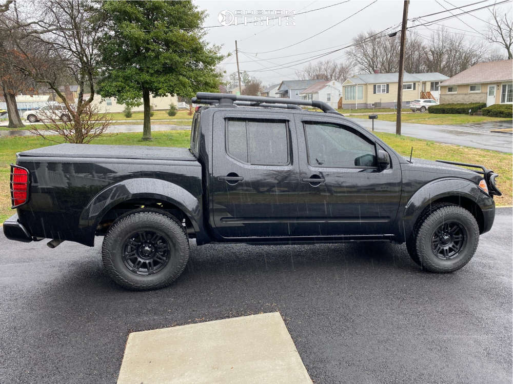 """2019 Nissan Frontier Aggressive > 1"""" outside fender on 16x8 0 offset Ultra Machine and 31""""x10.5"""" Pirelli Scorpion All Terrain Plus on Stock Suspension - Custom Offsets Gallery"""