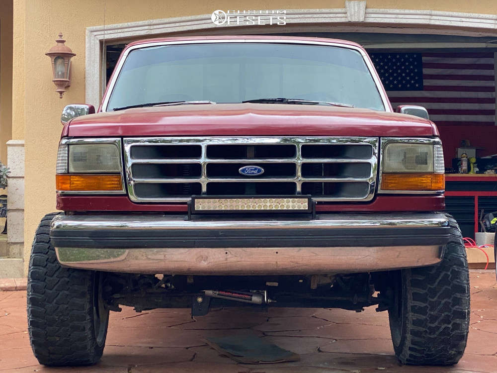 """1993 Ford F-150 Super Aggressive 3""""-5"""" on 22x12 -44 offset Axe Offroad AX3.1 & 33""""x12.5"""" Fury Offroad Country Hunter Rt on Suspension Lift 4"""" - Custom Offsets Gallery"""