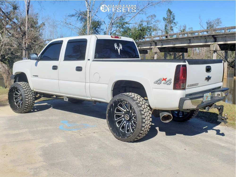 """2005 Chevrolet Silverado 1500 HD Hella Stance >5"""" on 26x14 -76 offset Hardcore Offroad Hc15 and 35""""x13.5"""" Fury Offroad Country Hunter M/t on Suspension Lift 6"""" - Custom Offsets Gallery"""