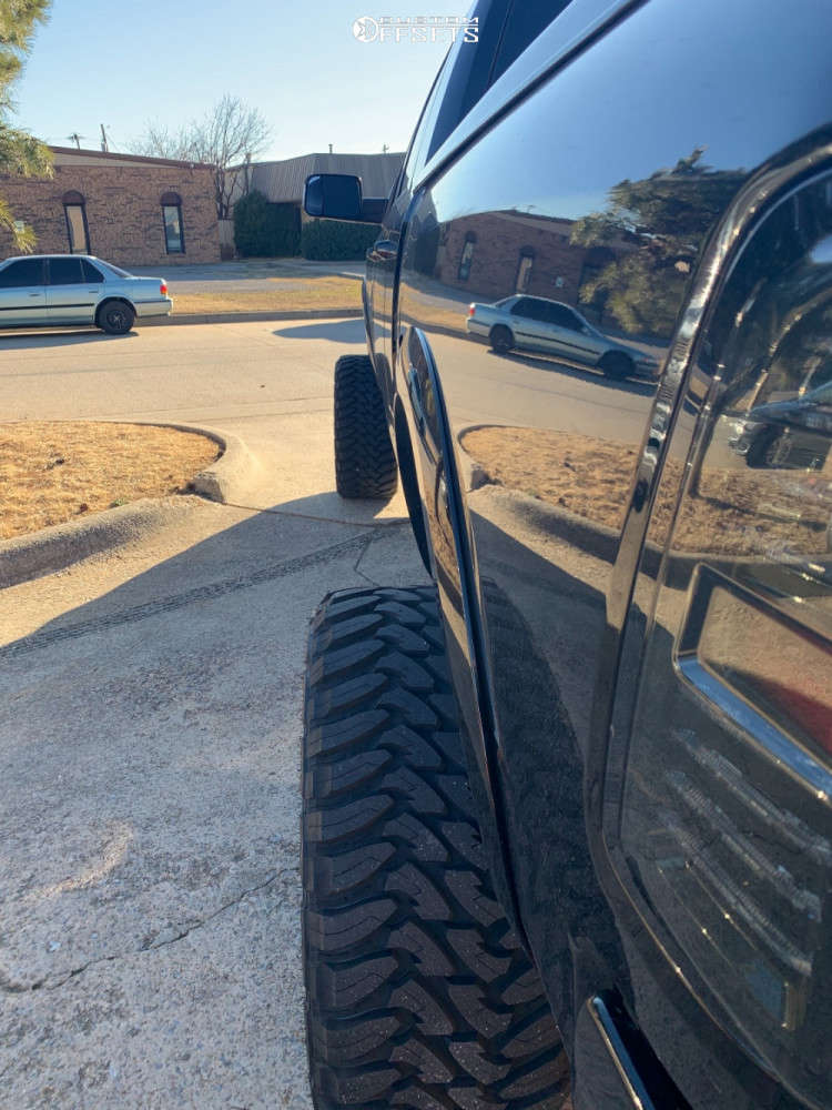 """2014 Ram 2500 Hella Stance >5"""" on 24x14 -90 offset American Force Morph Cc and 375/40 Toyo Tires Open Country M/T on Suspension Lift 7.5"""" - Custom Offsets Gallery"""