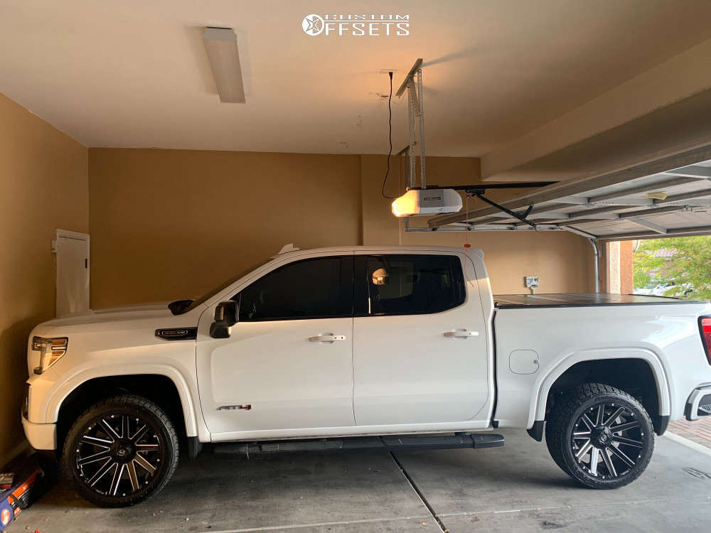 """2020 GMC Sierra 1500 Aggressive > 1"""" outside fender on 22x10 -18 offset Fuel Contra and 35""""x12.5"""" Nitto Terra Grappler G2 on Leveling Kit - Custom Offsets Gallery"""