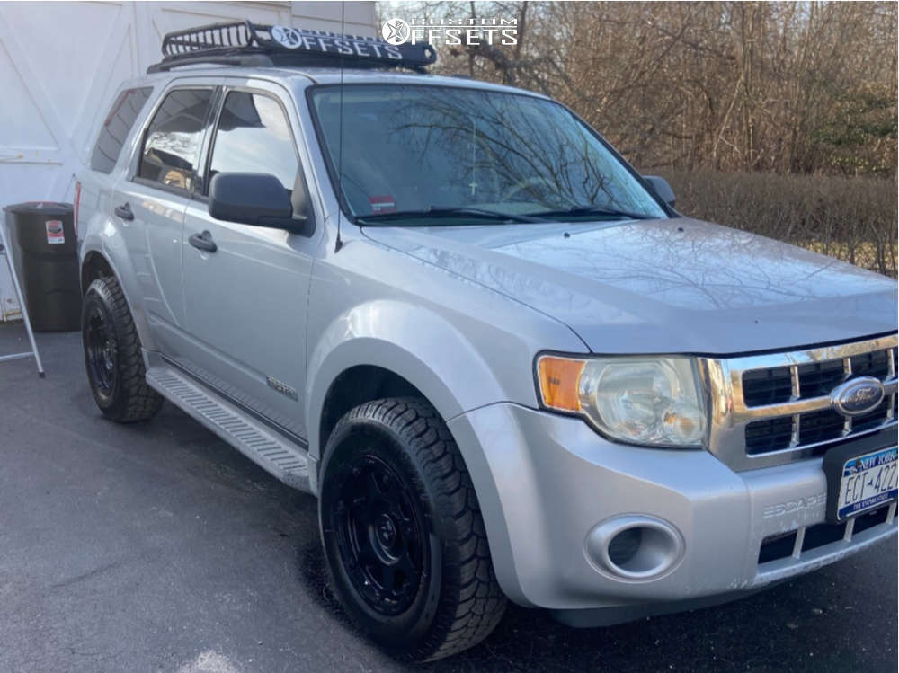 """2008 Ford Escape Aggressive > 1"""" outside fender on 16x8 0 offset Gear Off-Road Barricade and 235/70 Uniroyal Laredo Cross Country on Stock - Custom Offsets Gallery"""