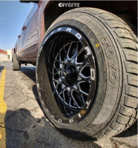 "2016 Chevrolet Silverado 1500 Aggressive > 1"" outside fender on 22x12 -44 offset TIS 548bm & 285/50 Toyo Tires Proxes St Ii on Suspension Lift 3.5"" - Custom Offsets Gallery"