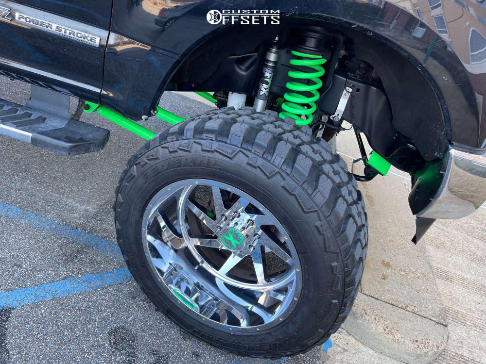 """2019 Ford F-250 Super Duty Aggressive > 1"""" outside fender on 24x14 -76 offset Xtreme Force Xf6 and 40""""x14.5"""" Federal Cavalry M/t on Air Suspension - Custom Offsets Gallery"""