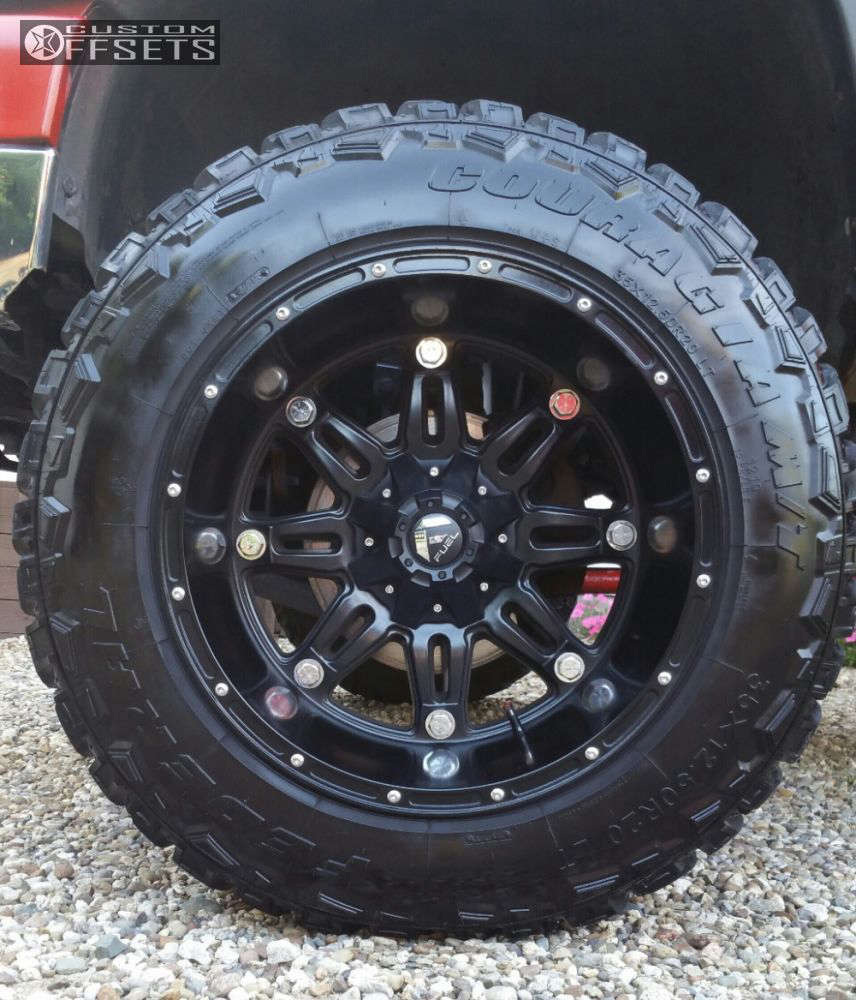 """2004 Chevrolet Silverado 2500 HD Hella Stance >5"""" on 20x14 -76 offset Fuel Hostage and 35""""x12.5"""" Federal Couragia MT on Suspension Lift 6"""" - Custom Offsets Gallery"""