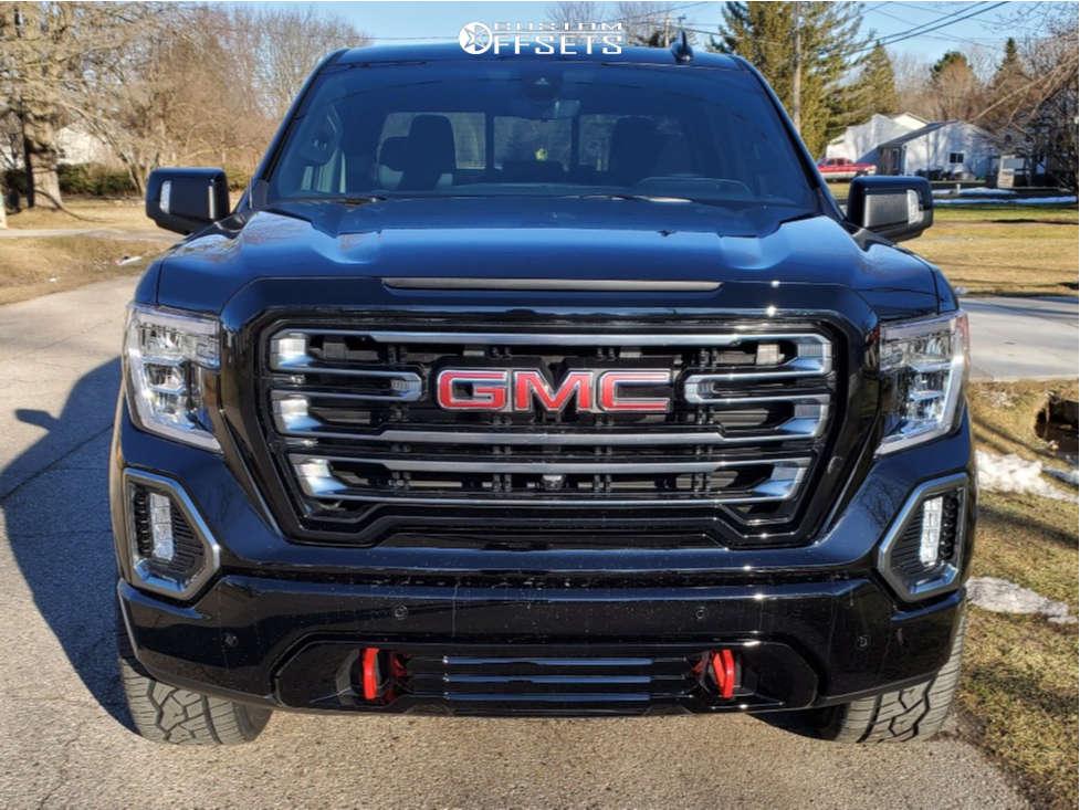 "2021 GMC Sierra 1500 Aggressive > 1"" outside fender on 22x10 -24 offset Ballistic Rage 959 & 305/55 Nitto Nt420v on Stock - Custom Offsets Gallery"