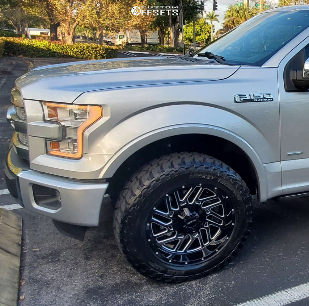 """2016 Ford F-150 Aggressive > 1"""" outside fender on 20x10 -24 offset Falcon Off-Road F2 and 33""""x12.5"""" Mickey Thompson Baja Atz P3 on Leveling Kit - Custom Offsets Gallery"""