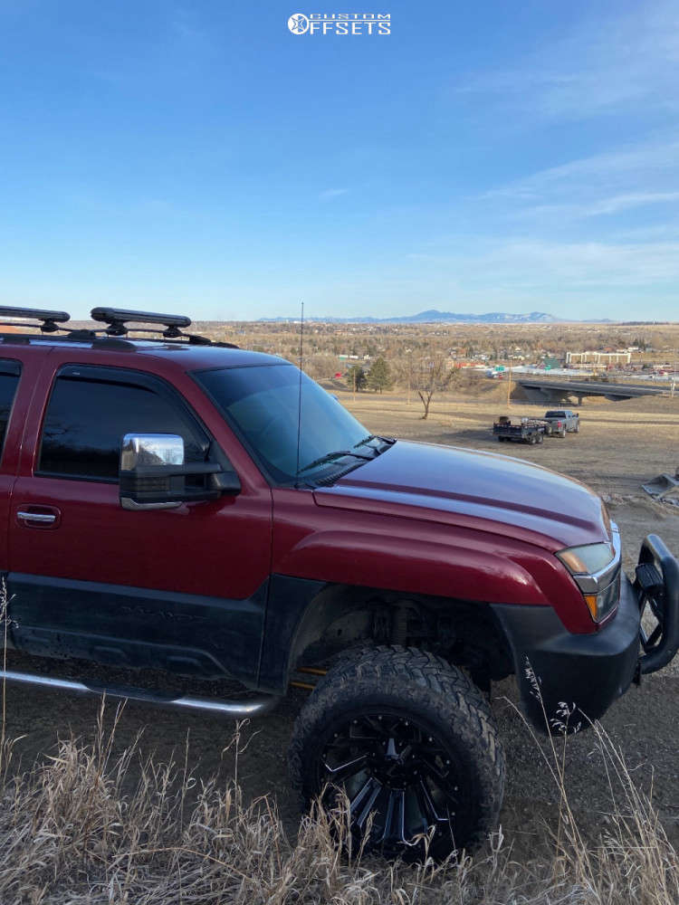 """2004 Chevrolet Avalanche Aggressive > 1"""" outside fender on 20x12 -44 offset Savage Offroad Sa18 & 35""""x12.5"""" Atturo Trail Blade Mt on Suspension Lift 5"""" - Custom Offsets Gallery"""