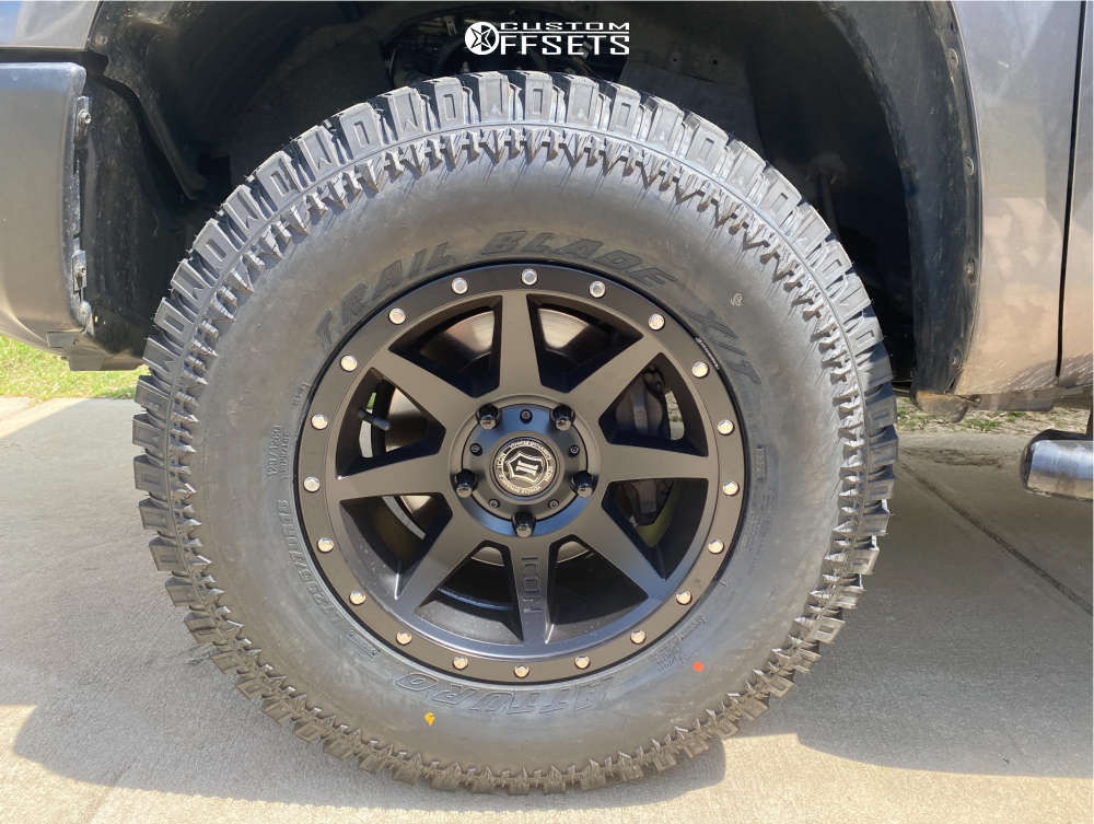 """2016 Toyota Tundra Aggressive > 1"""" outside fender on 18x9 25 offset Icon Alloys Rebound and 295/70 Atturo Trail Blade XT on Leveling Kit - Custom Offsets Gallery"""