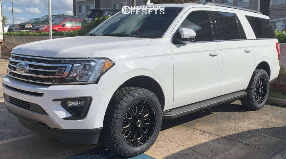 """2020 Ford Expedition Aggressive > 1"""" outside fender on 20x9 0 offset XF Forged Xfx-302 & 275/60 Nitto Ridge Grappler on Leveling Kit - Custom Offsets Gallery"""