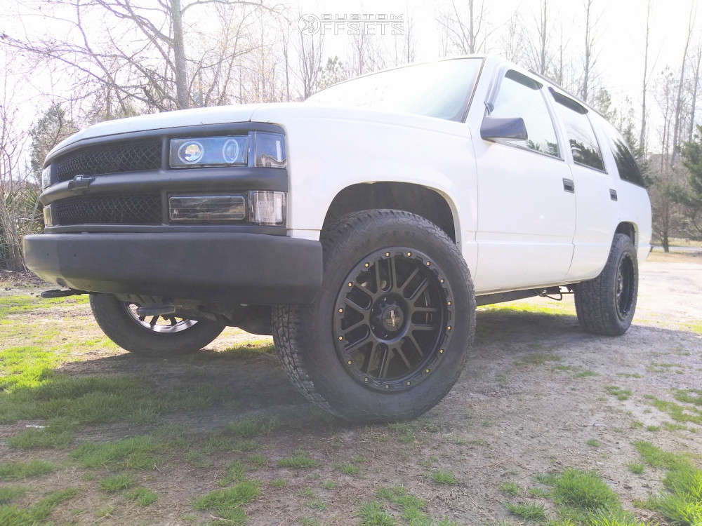 1997 Chevrolet Tahoe Nearly Flush on 20x9 12 offset Vision Nemesis 111 and 275/60 Nexen Roadian At Pro Ra8 on Stock Suspension - Custom Offsets Gallery