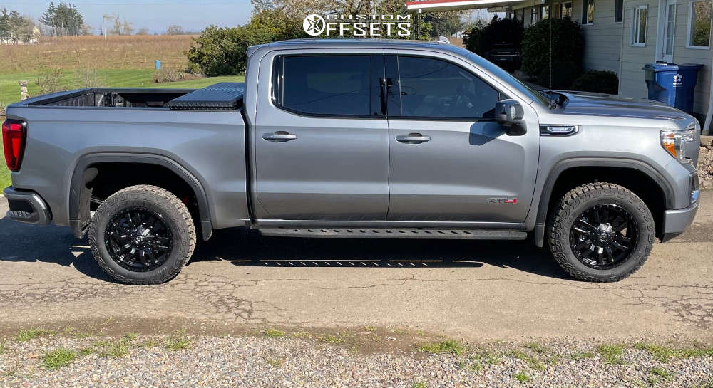"""2021 GMC Sierra 1500 Aggressive > 1"""" outside fender on 20x9 0 offset Fuel Sledge & 265/60 Goodyear Territory MT on Stock Suspension - Custom Offsets Gallery"""