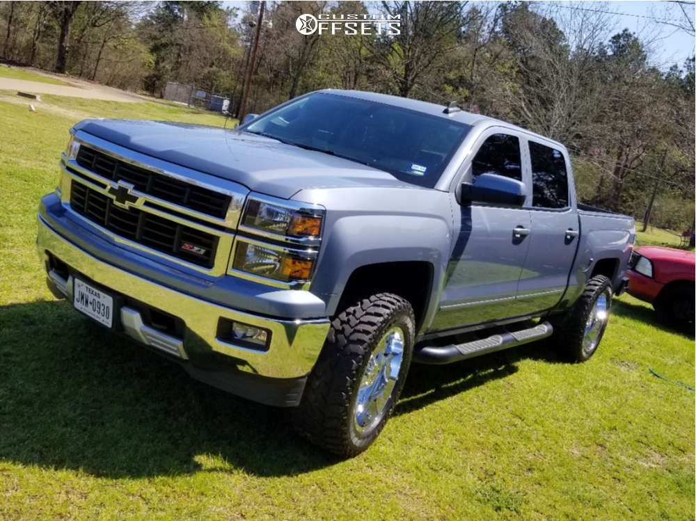 """2015 Chevrolet Silverado 1500 Aggressive > 1"""" outside fender on 20x10 -18 offset Moto Metal Mo988 and 305/55 Firestone Destination Mt on Leveling Kit - Custom Offsets Gallery"""