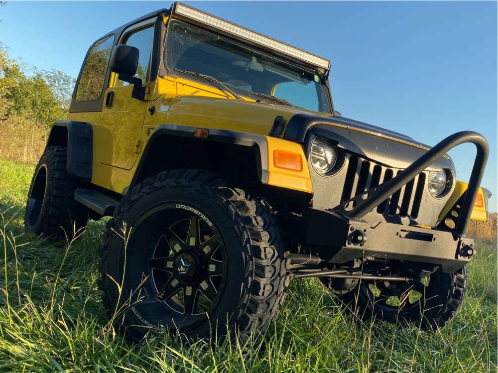 "2006 Jeep Wrangler Aggressive > 1"" outside fender on 20x12 -44 offset Dropstars 655bm & 35""x12.5"" Gladiator Xcomp Mt on Suspension Lift 5.5"" - Custom Offsets Gallery"