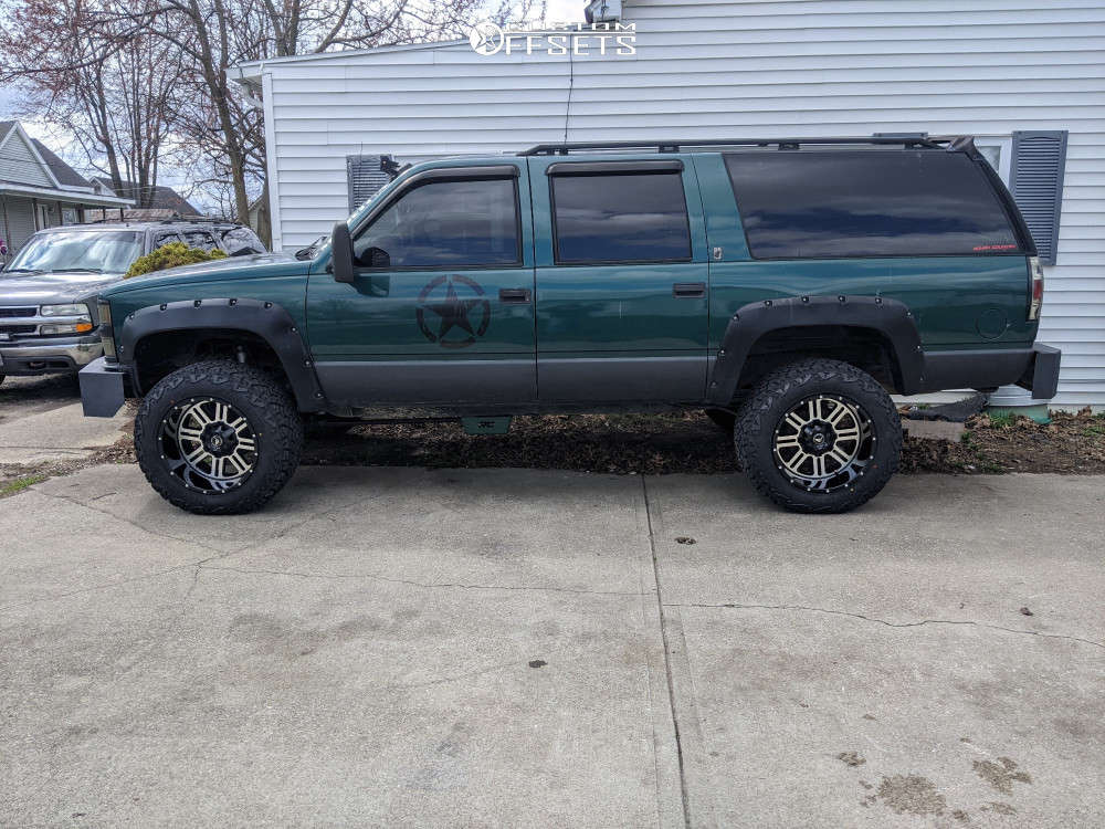"""1997 Chevrolet K1500 Suburban Aggressive > 1"""" outside fender on 20x12 -44 offset American Offroad Renegade and 35""""x12.5"""" Venom Terra Hunter X/t on Suspension Lift 6"""" - Custom Offsets Gallery"""