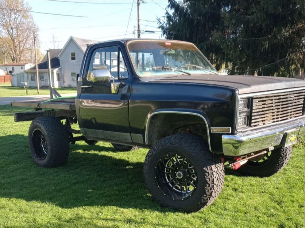 """1985 Chevrolet K20 Aggressive > 1"""" outside fender on 20x12 -51 offset Hardrock Crusher & 37""""x13.5"""" Venom Power Terra Hunter X/T on Suspension Lift 6"""" - Custom Offsets Gallery"""
