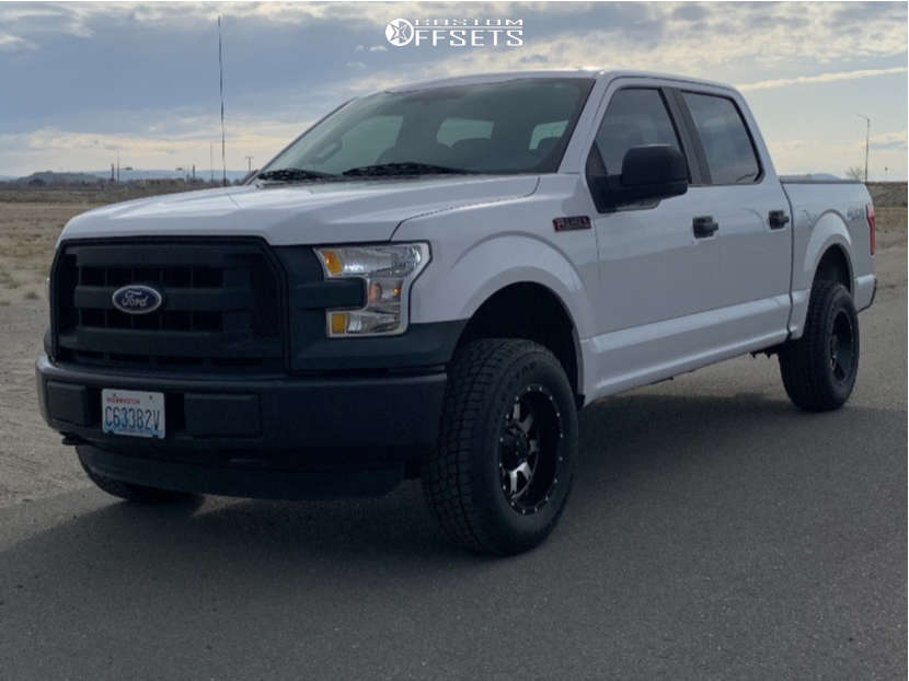"""2015 Ford F-150 Aggressive > 1"""" outside fender on 17x9 -12 offset Gear Off-road Big Block & 265/70 Patagonia Milestar on Leveling Kit - Custom Offsets Gallery"""