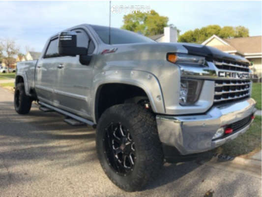 """2021 Chevrolet Silverado 2500 HD Aggressive > 1"""" outside fender on 20x10 -25 offset XD Buck and 35""""x12.5"""" Nitto Ridge Grapplers on Leveling Kit - Custom Offsets Gallery"""