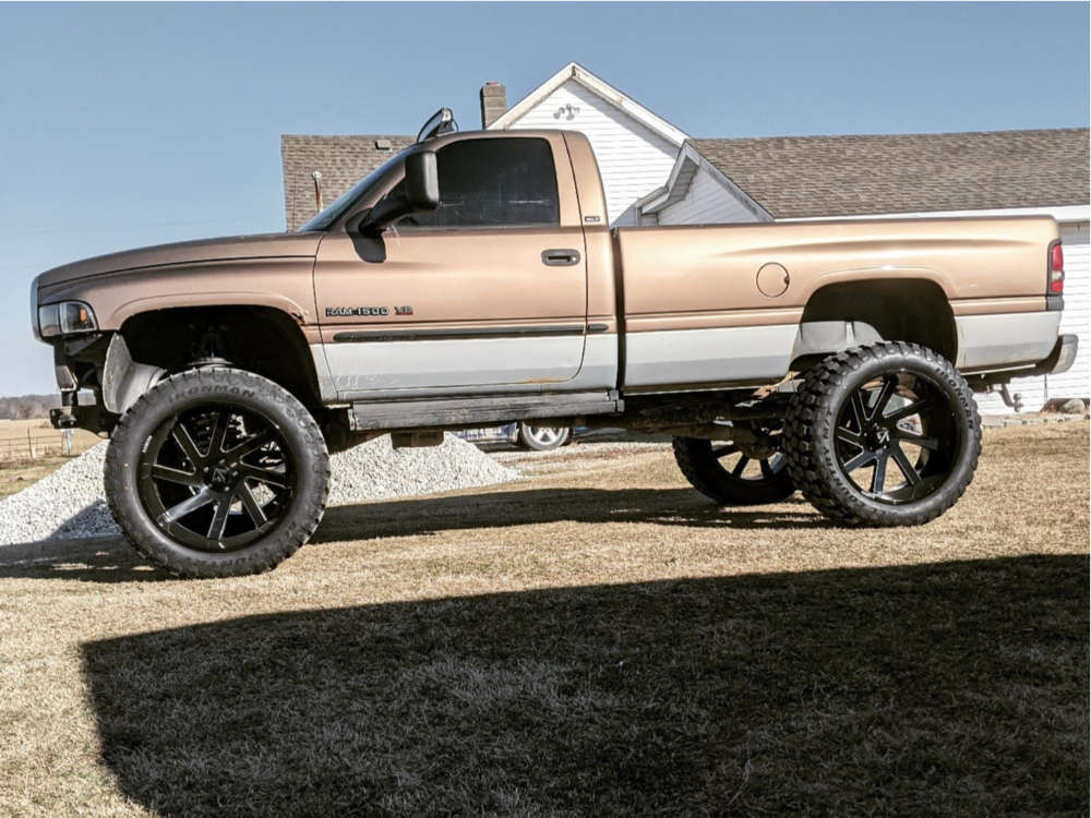 """2000 Dodge Ram 1500 Hella Stance >5"""" on 26x14 -76 offset ARKON OFF-ROAD Lincoln and 40""""x15.5"""" Ironman All Country Mt on Suspension Lift 5"""" - Custom Offsets Gallery"""