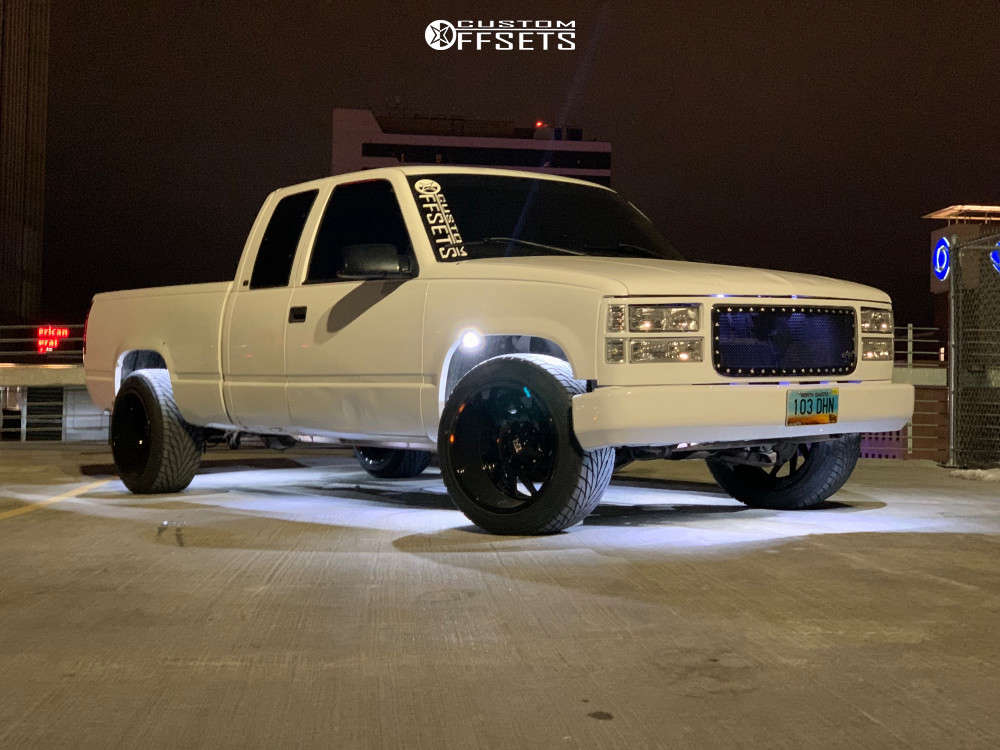 """1997 Chevrolet C1500 Aggressive > 1"""" outside fender on 20x12 -44 offset Hardrock Crusher H704 & 33""""x12.5"""" Toyo Tires Proxes S/t on Stock Suspension - Custom Offsets Gallery"""