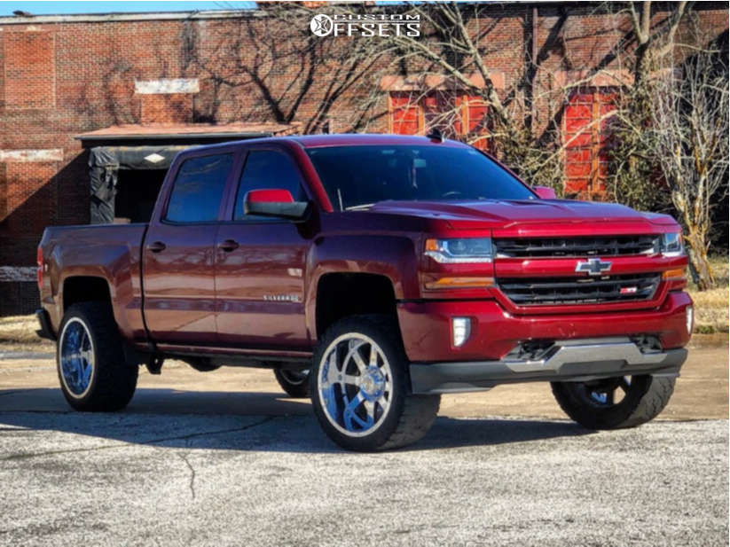 """2016 Chevrolet 1500 Aggressive > 1"""" outside fender on 22x12 -44 offset Gear Big Block and 33""""x12.5"""" Kenda Klever R/t on Leveling Kit - Custom Offsets Gallery"""