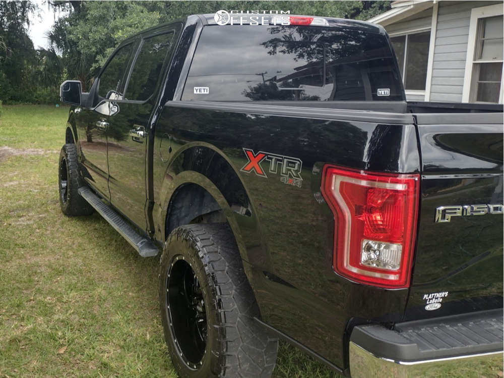 """2016 Ford F-150 Aggressive > 1"""" outside fender on 20x10 -25 offset Ultra Hunter and 295/60 Nitto Ridge Grappler on Leveling Kit - Custom Offsets Gallery"""