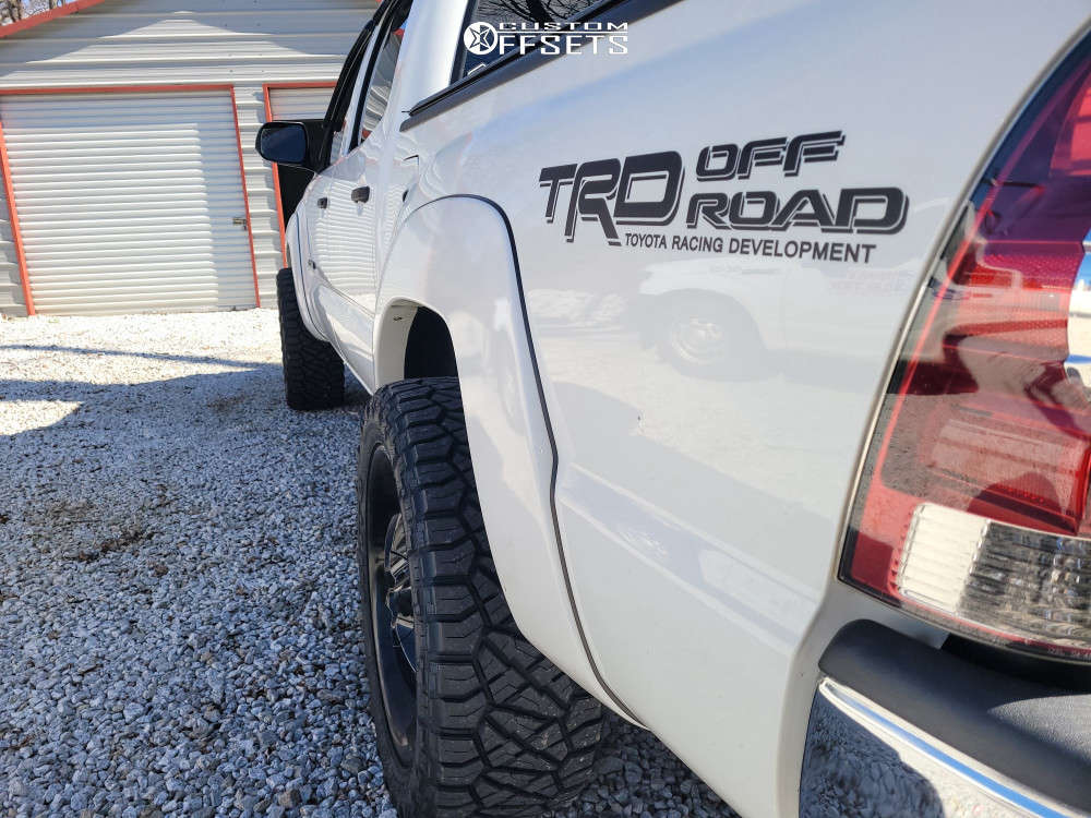 """2012 Toyota Tacoma Aggressive > 1"""" outside fender on 20x9 18 offset MKW M119 and 265/50 Nitto Ridge Grappler on Stock - Custom Offsets Gallery"""