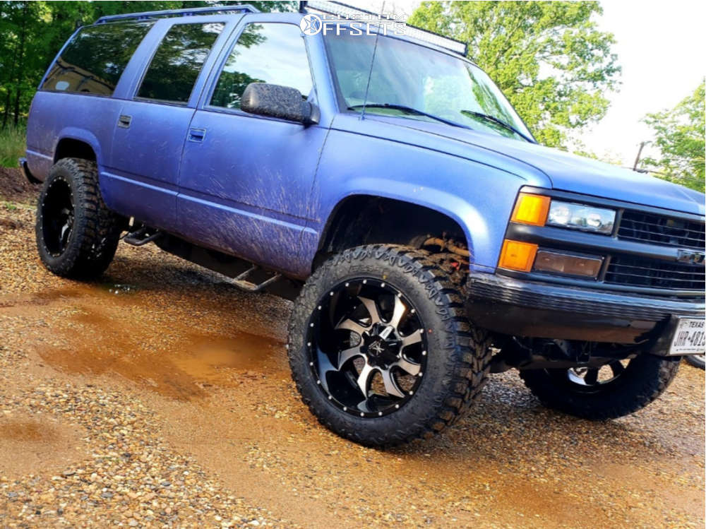 """1999 Chevrolet K1500 Suburban Aggressive > 1"""" outside fender on 22x12 -44 offset Karma Offroad K27 and 36""""x13.5"""" Versatyre MXT on Stock Suspension - Custom Offsets Gallery"""