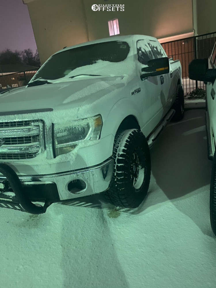 """2014 Ford F-150 Aggressive > 1"""" outside fender on 18x9 -12 offset XD Xd820 and 295/70 Dick Cepek Trail Country Exp on Leveling Kit - Custom Offsets Gallery"""