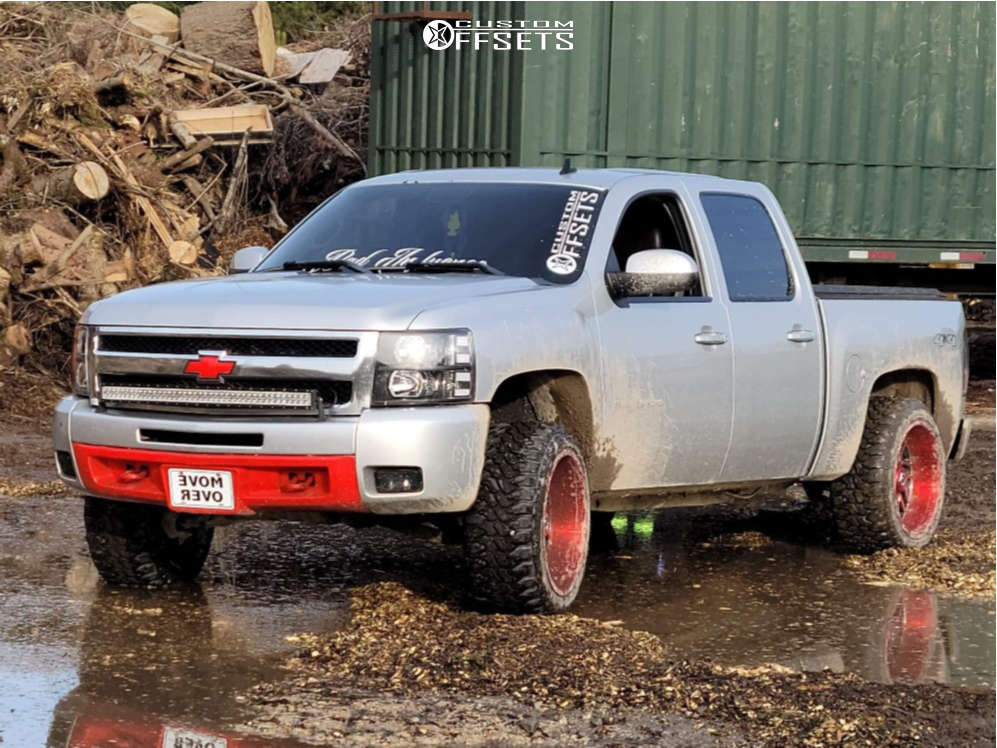 """2011 Chevrolet Silverado 1500 Aggressive > 1"""" outside fender on 22x12 44 offset TIS 544rm and 33""""x12.5"""" Duck Commander Mud Terrain on Suspension Lift 3.5"""" - Custom Offsets Gallery"""
