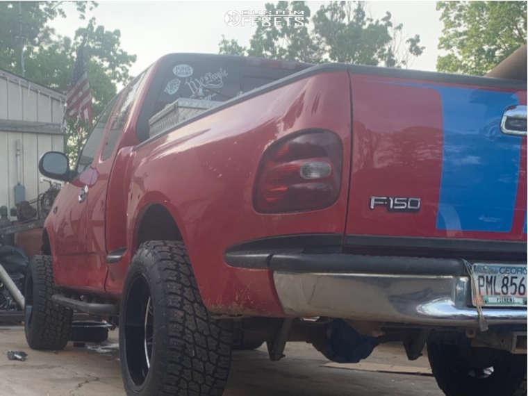 "1999 Ford F-150 Aggressive > 1"" outside fender on 20x12 -44 offset Motiv Offroad Balast & 305/55 Nitto Terra Grappler G2 on Suspension Lift 3"" - Custom Offsets Gallery"