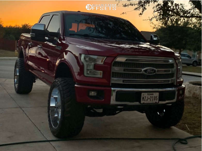 """2015 Ford F-150 Slightly Aggressive on 26x14 -81 offset TIS 544c and 37""""x13.5"""" Toyo Tires Open Country Rt on Suspension Lift 7"""" - Custom Offsets Gallery"""