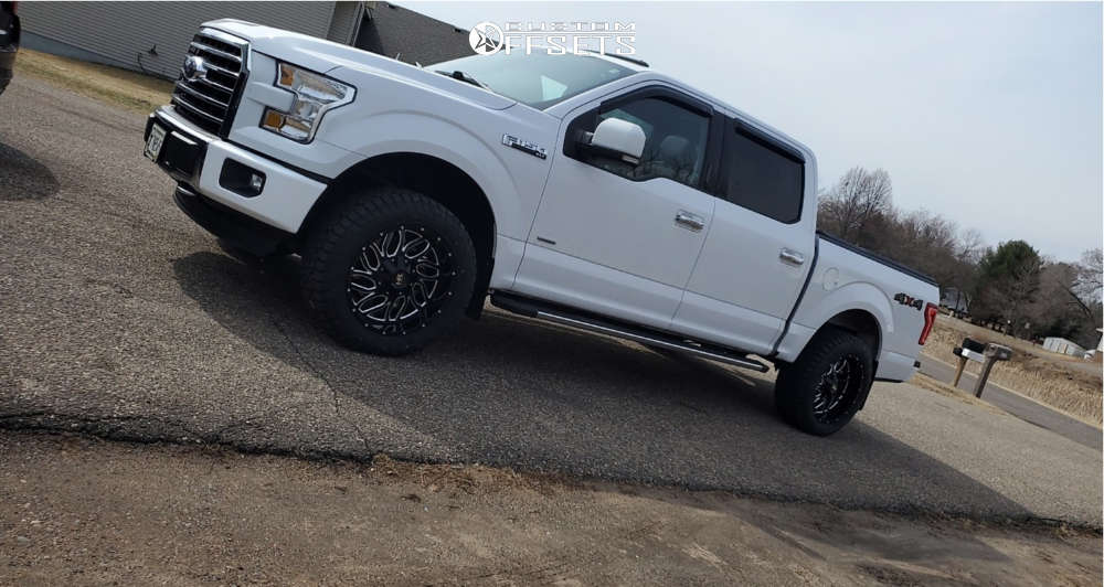"""2016 Ford F-150 Aggressive > 1"""" outside fender on 20x10 -19 offset Hardrock Destroyer and 275/55 Fuel Gripper A/t on Leveling Kit - Custom Offsets Gallery"""