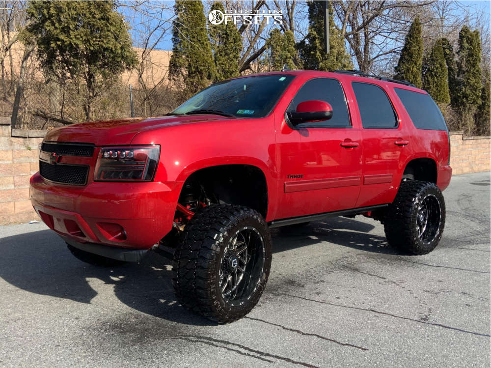 """2012 Chevrolet Tahoe Hella Stance >5"""" on 22x12 -44 offset TIS 544bm and 35""""x15.5"""" Fury Country Hunter Mt on Suspension Lift 7"""" - Custom Offsets Gallery"""