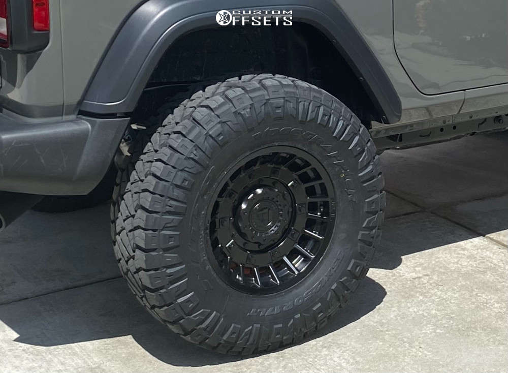 """2020 Jeep Wrangler Aggressive > 1"""" outside fender on 17x9 -12 offset Fuel Militia & 35""""x12.5"""" Nitto Ridge Grappler on Suspension Lift 2.5"""" - Custom Offsets Gallery"""