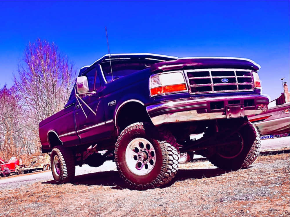 """1996 Ford F-350 Slightly Aggressive on 17x8 0 offset Alloy Ion 171 and 33""""x12.5"""" Mickey Thompson Baja Mtz on Suspension Lift 4"""" - Custom Offsets Gallery"""
