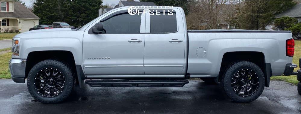 "2016 Chevrolet 1500 Aggressive > 1"" outside fender on 20x10 -25 offset Ultra Hunter 203 and 275/60 Nitto Ridge Grappler on Stock - Custom Offsets Gallery"